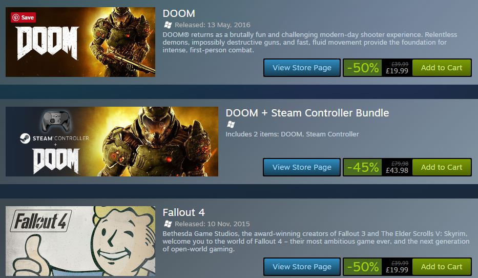 Fallout 4, Skyrim and DOOM Discounted in Bethesda Steam Sale