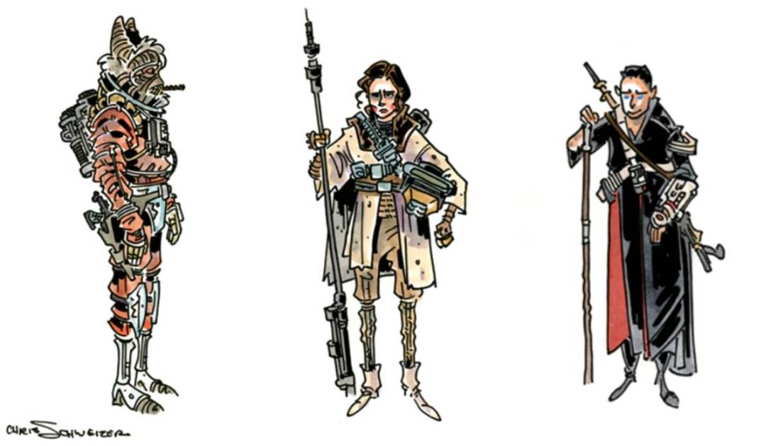 Three Star Wars figures, inked and watercoloured.