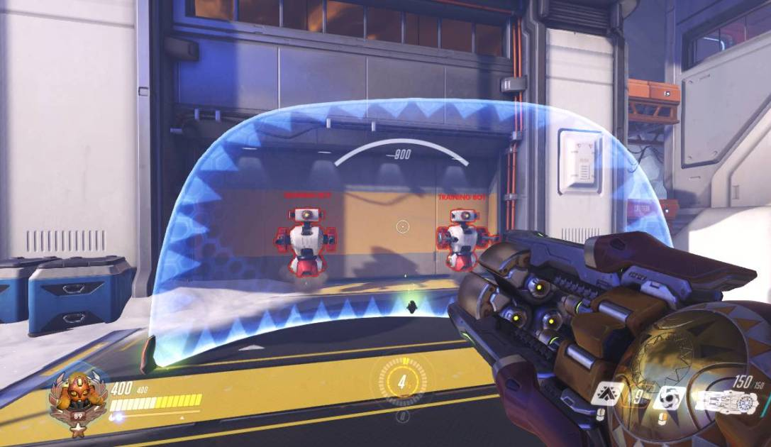 A screenshot showing Orisa's barrier