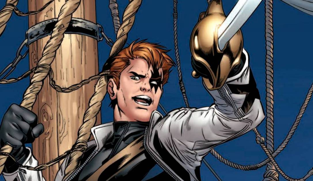 Shatterstar with a sword, swinging from a rope