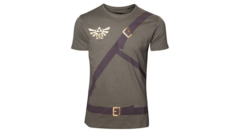 Zelda green cosplay style shirt with belt design on front