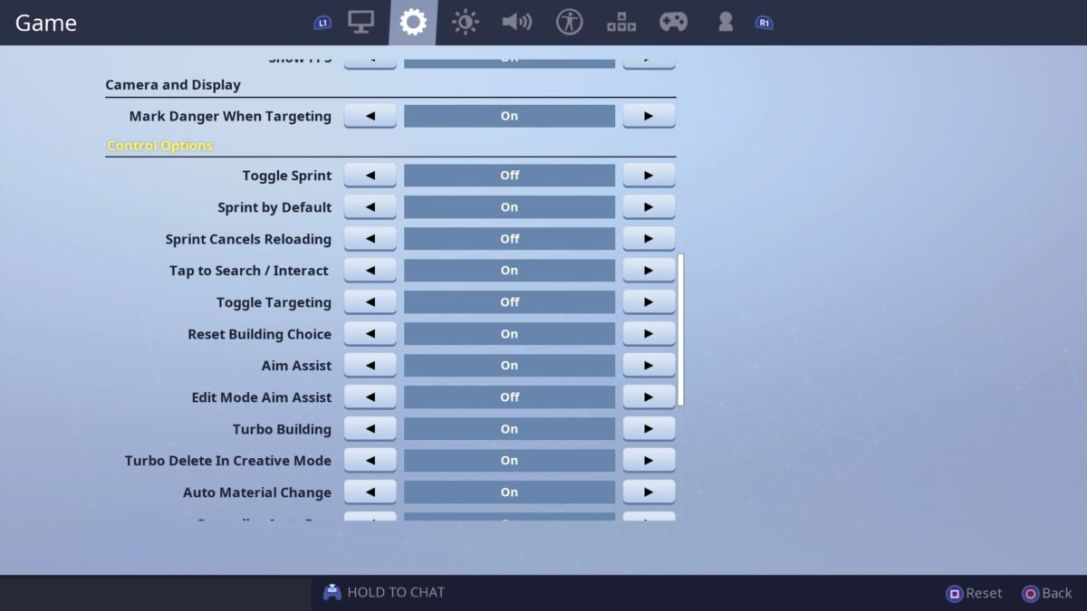 Fortnite Game Settings