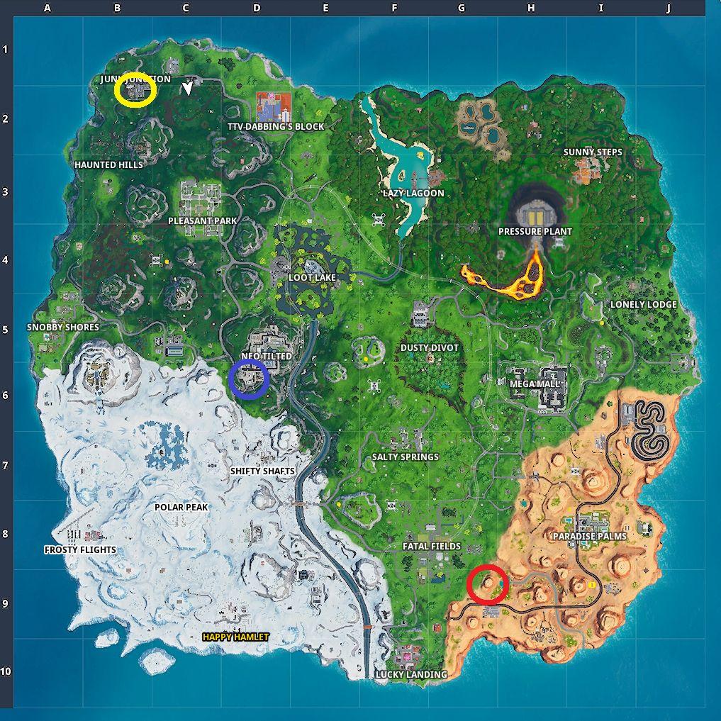 Fornite three clocks map