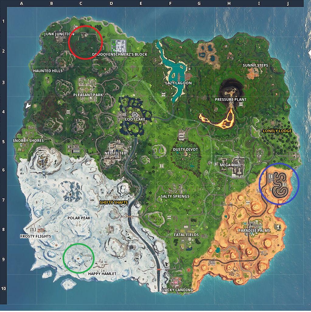 Fortnite race track locations