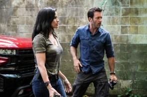 """E uhi ana ka wa i hala i na mea i hala"" Five-0 Rob Morro Alex O'Loughlin as Steve McGarrett and Katrina Law as Quinn Liu. Photo: Karen Neal/CBS ©2019 CBS Broadcasting, Inc. All Rights Reserved (""E uhi ana ka wa I hala I na mea I hala"" is Hawaiian for ""Passing time obscures the past"") five-0"
