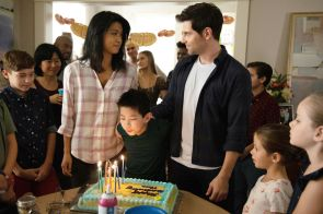 """A MILLION LITTLE THINGS - """"ten years"""" - The gang gathers for Theo's 10th birthday, which is also a significant milestone for Eddie. Meanwhile, Delilah, Eddie and Katherine are at an impasse about revealing the truth about Charlie; Rome and Regina try to keep Sophie from getting too close to PJ, and Maggie helps Gary make a difficult decision about his dog, Colin, on a new episode of """"A Million Little Things,"""" airing THURSDAY, NOV. 7 (9:01-10:01 p.m. EST), on ABC. (ABC/Jack Rowand) GRACE PARK, TRISTAN BYON, DAVID GIUNTOLI"""