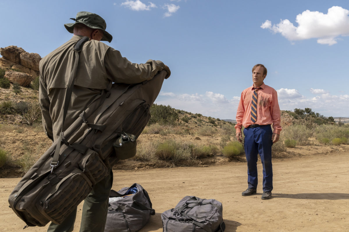 better call saul Jonathan Banks as Mike Ehrmantraut, Bob Odenkirk as Jimmy McGill - Better Call Saul _ Season 5, Episode 8 - Photo Credit: Greg Lewis/AMC/Sony Pictures Television