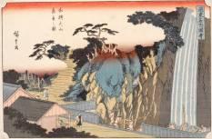 Utagawa Hiroshige La cascata Rôben a Ôyama nella provincia di Sagami, dalla serie Vedute dei luoghi celebri del Kantô (1843) Silografia policroma, 25 x 36,6 cm - Honolulu Museum of Art