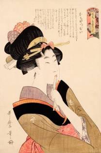 Kitagawa Utamaro La ragazza precoce (Ochappii), dalla serie Varietà di fiori secondo il loro linguaggio (1802) Silografia policroma, 39,4 x 26 cm - Honolulu Museum of Art