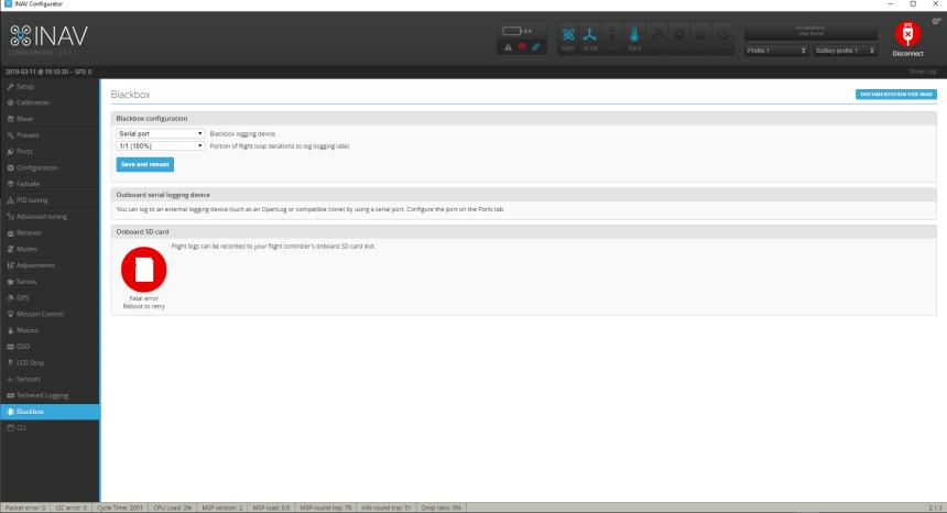INAV Configurateur Configurator Blackbox