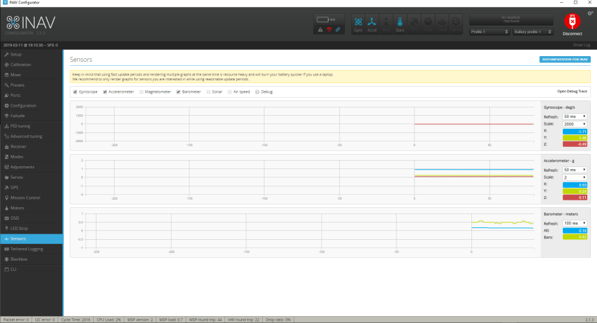 INAV Configurateur Configurator Sensors