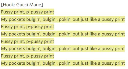 pussy print lyrics - gucci mane and Kanye West