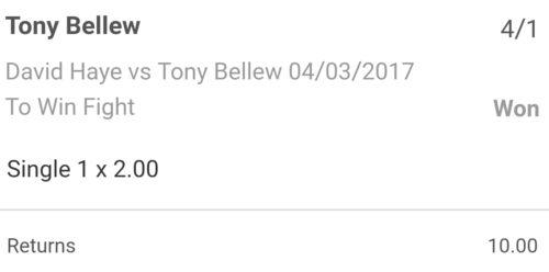 David Haye v Tony Bellew bet