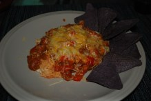 Turkey chili with blue corn chips. (Jan. 2012)
