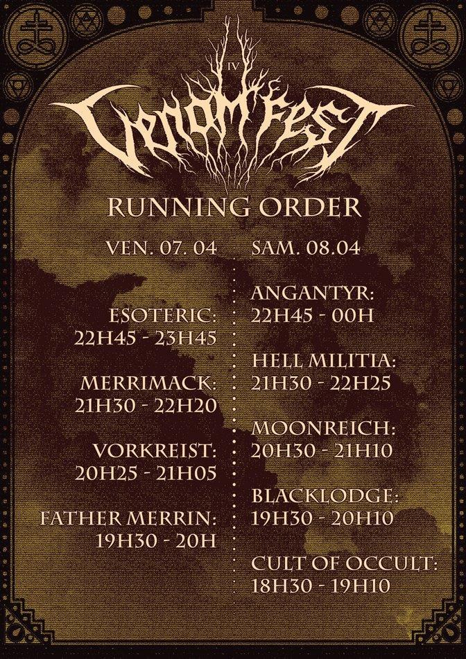 Venom Fest - running order
