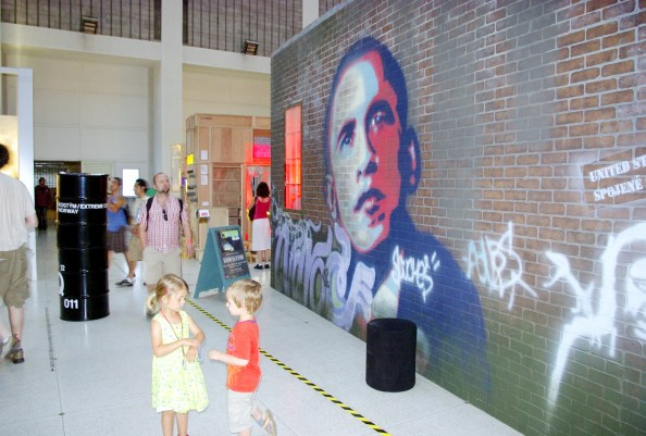 At Prague National Gallery: USA performing garage under the sign of Obama | Photo by Randy Gener