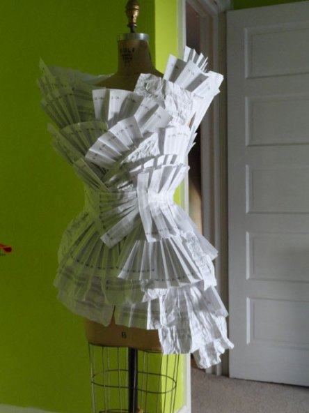 "Designer Rosemarie McKelvey's paper dress for ""Extremely Public Displays of Privacy"" 