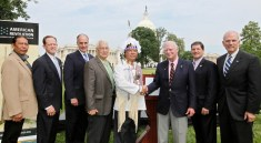 From left to right: Oneida Nation Council member Clint Hill, U.S. Sen. Pat Toomey (R-Pa.), U.S. Sen. Bob Casey (D-Pa.), Oneida Nation Council member Chuck Fougnier, Oneida Nation Representative Ray Halbritter, American Revolution Center Chairman Gerry Lenfest, U.S. Rep. Jim Gerlach (R-Pa.), and American Revolution Center President and Chief Executive Officer Michael Quinn