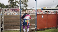 "Wim Wenders's ""Cowboy Clown, Brisbane"" (2006) C-print 132 x 148 cm | Courtesy Wenders Images"