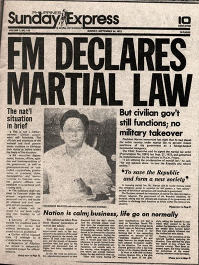 "Sunday Express newspaper headline ""FM Declares Martial Law"""