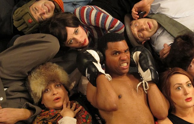 """Negro Ensemble Company's """"Cabaret Émigré,"""" a new play by Sophia Romma, directed by Charles Weldon. Clockwise from top: Randy Schein, Gwenevere Sisco, Tosh Marks, Adriana Sanases, DeLance Minefee, Dana Pelevine 