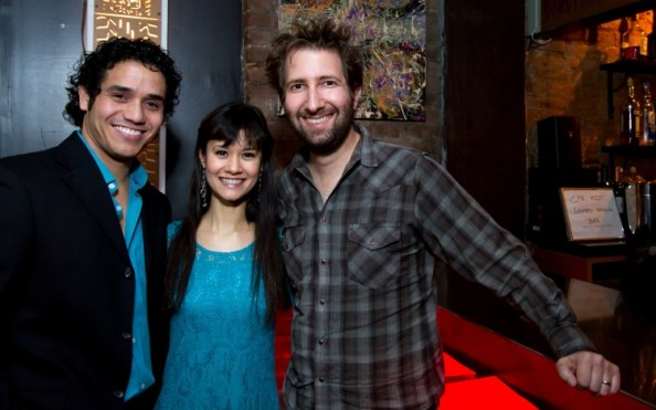 Broadway stars Adam Jacobs and Ali Ewoldt with composer Sam Carner at the Ugly Kitchen in New York City