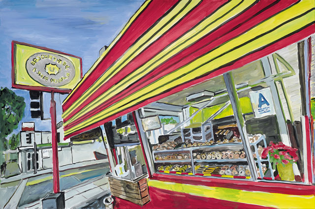 "Bob Dylan's ""Donut Shop, 2015–2016."" Acrylic on canvas, 83.8 x 121.9 cm. 