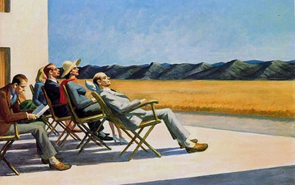 Un groupe de personnes, la solitude par Hopper