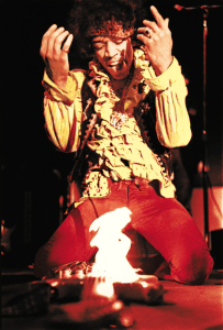 Jimi burning his guitar