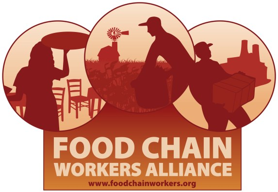 Food chain workers alliance logo, which includes images of a restaurant server, farmer, and food processing worker