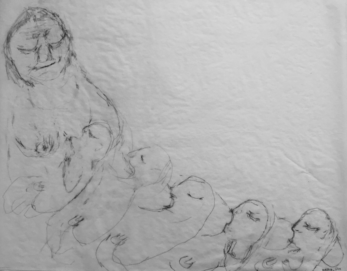 A surreal drawing of a mother nursing five babies at once