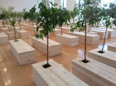 """""""Ex It"""", 1997. cercueils rudimentaires d'oû émergent des arbres, chants d'oiseaux. Mort/résurrection."""