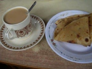 Kenyan tea is served light and with chapati.
