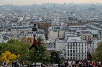 View from Montmartre from in front of the Sacre-Cœur, a place where many street performer gather. Photo taken by Josie Lucero.