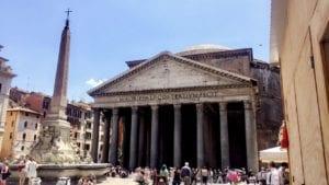 Multiple tourists visiting the Roman Pantheon