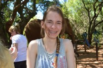 """Clare after being """"kissed"""" by the elephant"""
