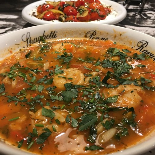 Prawn soup with orzo