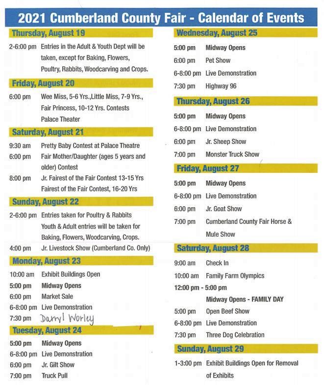 2021 Cumberland County Fair Itinerary