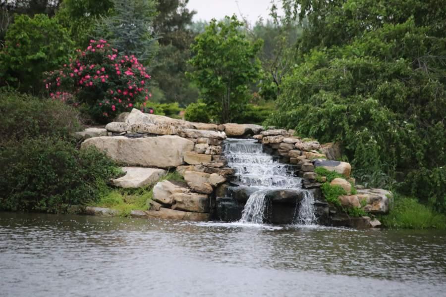 Waterfall on the lake