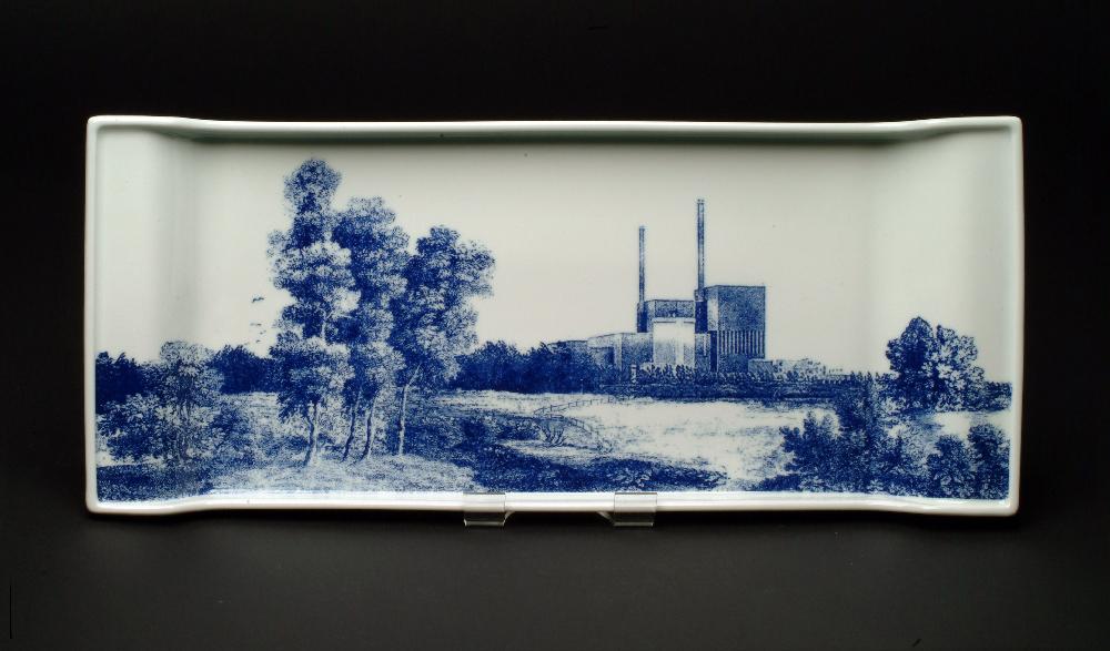 Scott's Cumbrian Blue(s) Barsebäck No:2. In-glaze decal collage on Rörstrand porcelain, form designed by Pia Tornell. Paul Scott 2007