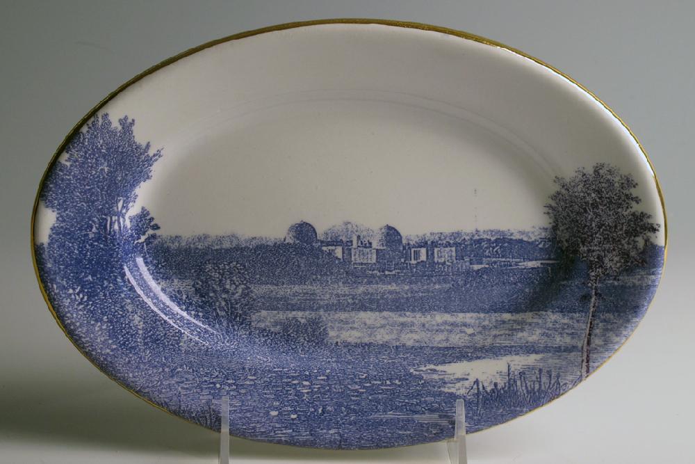 Scott's Cumbrian Blue(s), American Scenery, (Hudson River) Indian Point. Screen print (in-glaze decal) and gold on ironstone platter c. 1860. Paul Scott, Clay Studio, Philadelphia 2013.