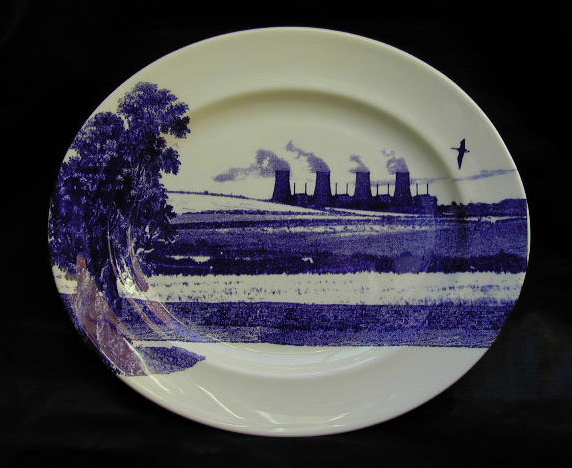 The Scott Collection, Cumbrian Blue(s) 2000, Chapel Cross No:3. In-glaze decal collage on Royal Worcester bone china platter 44cm x 37.5cm. Paul Scott 2000.