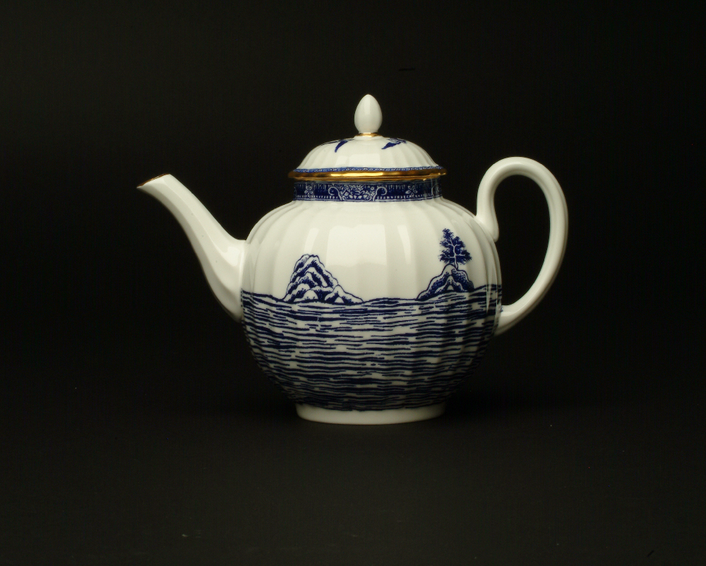 Scott's Cumbrian Blue(s), Cockle Pickers' Teapot. Inglaze decal collage on Royal Worcester bone china teapot with gold lustre.