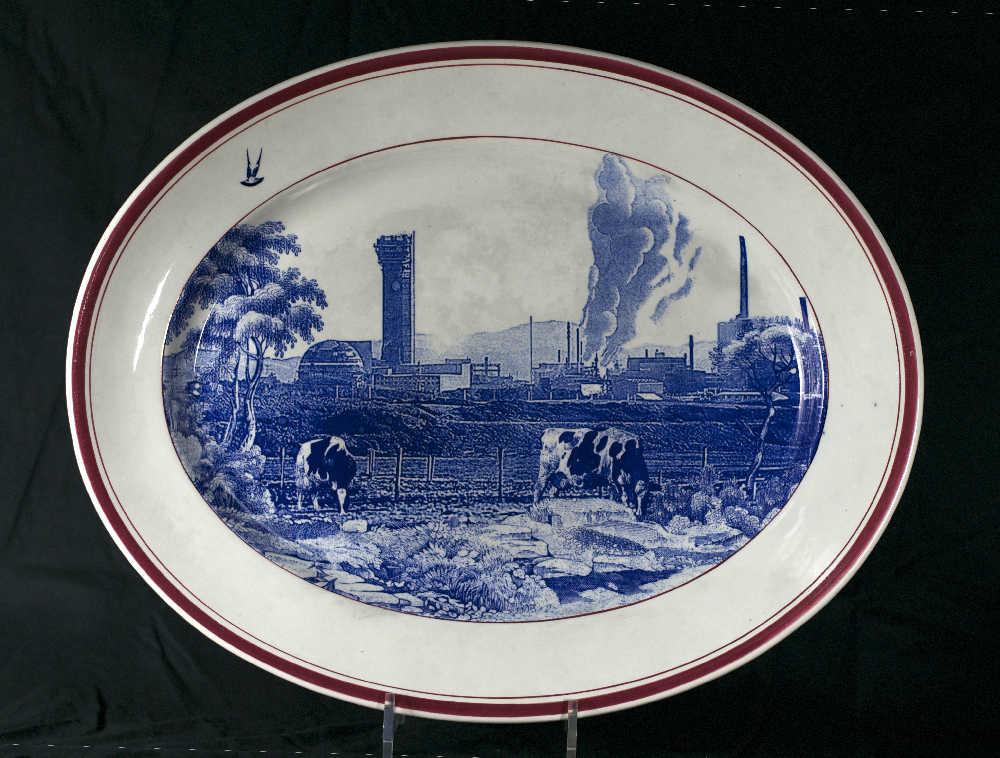 Scott's Cumbrian Blue(s), English Scenery, Sellafield, The Decommissioning Series. in-glaze decal collage on unmarked earthenware platter c.1900, 48cm x 39cm. Paul Scott 2014.