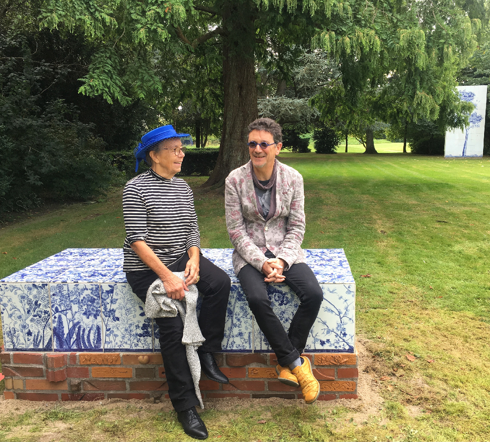 Lillemor Petersson and Paul Scott sitting on Scott's Cumbrian Blue(s), A Flowerbed for Alice