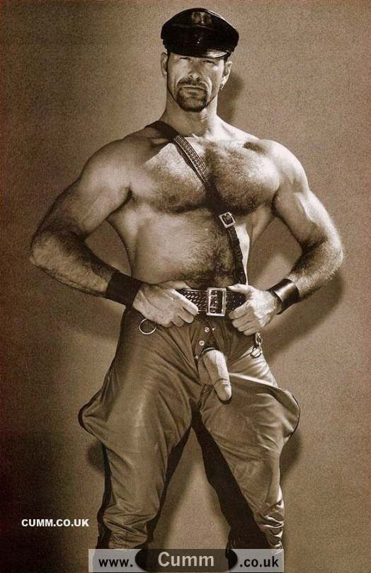 vintage leather man penis exposed