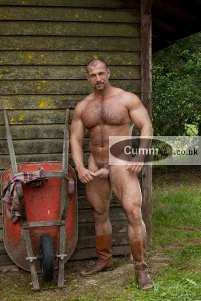 gardener with a semi hard on nude at work