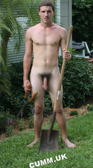 hung naked gardener offers bush trimming service