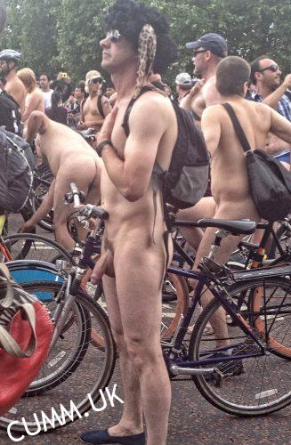 london naked bike ride showing off my hung semi erect cock tumblr