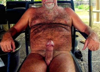 silver daddy naked and erect